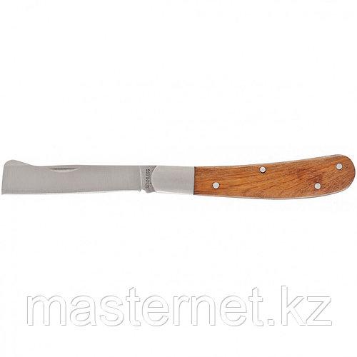 Нож садовый для прививки и обрезки, 173 мм, складной, копулировочный, деревянная рукоятка, PALISAD, 79002