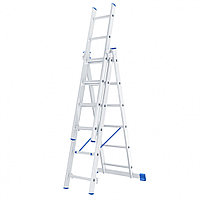Лестница, 3 секции по 6 ступеней, из алюминия, трехсекционная, СИБРТЕХ, 97816