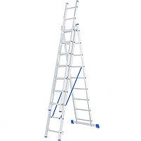 Лестница трехсекционная , 3 секции по 9 ступеней, алюминиевая СИБРТЕХ 97819