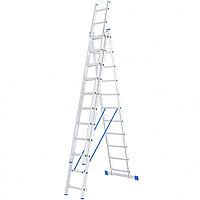 Лестница, 3 секции по 11 ступеней, алюминиевая, трехсекционная, СИБРТЕХ, 97821