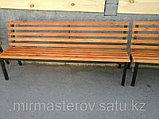 Скамейка парковая - сосна, цвет, лак, фото 2