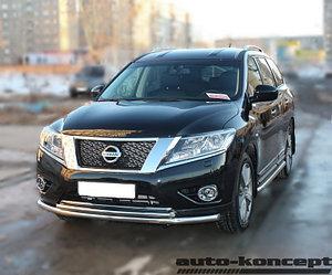 Защита передняя двойная (КРУГ+ОВАЛ) D 76,1/75х42 Nissan Pathfinder 2014-