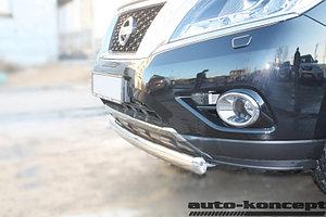 Защита передняя (ОВАЛ) D 75х42 Nissan Pathfinder 2014-