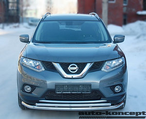 Защита передняя большая двойная D 60,3/42,4  Nissan X-Trail 2015-