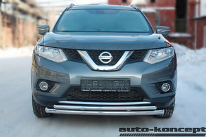 Защита передняя двойная D 60,3/42,4  Nissan X-Trail 2015-