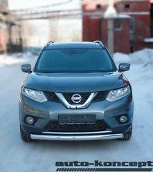 Защита передняя ОВАЛ D 75x42  Nissan X-Trail 2015-