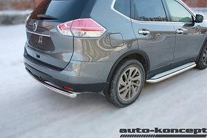 Защита задняя D 60,3  Nissan X-Trail 2015-