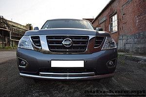 Защита передняя двойная (ОВАЛ) D 75х42 Nissan Patrol 2014-