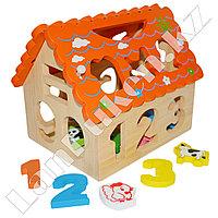 Детская развивающая деревянная игрушка (сортер) Домик маленький