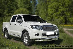 Защита передняя двойная (КРУГ+ОВАЛ) D 76,1/75х42 Toyota  Hilux 2011-2015