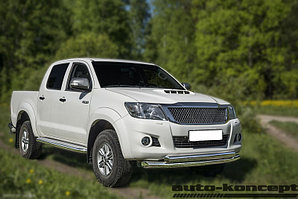 Защита передняя двойная (ОВАЛ) D 75х42 Toyota  Hilux 2011-2015
