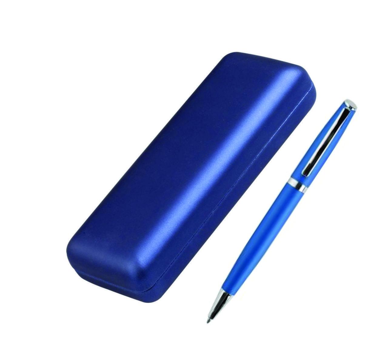 5879 Ручка металлическая  шариковая, синяя, в футляре
