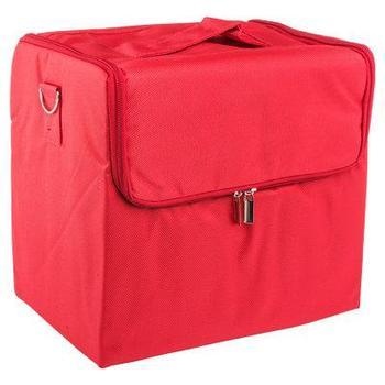 Бьюти-кейс тканевый ,с внутренними полками. Цвет-красный.