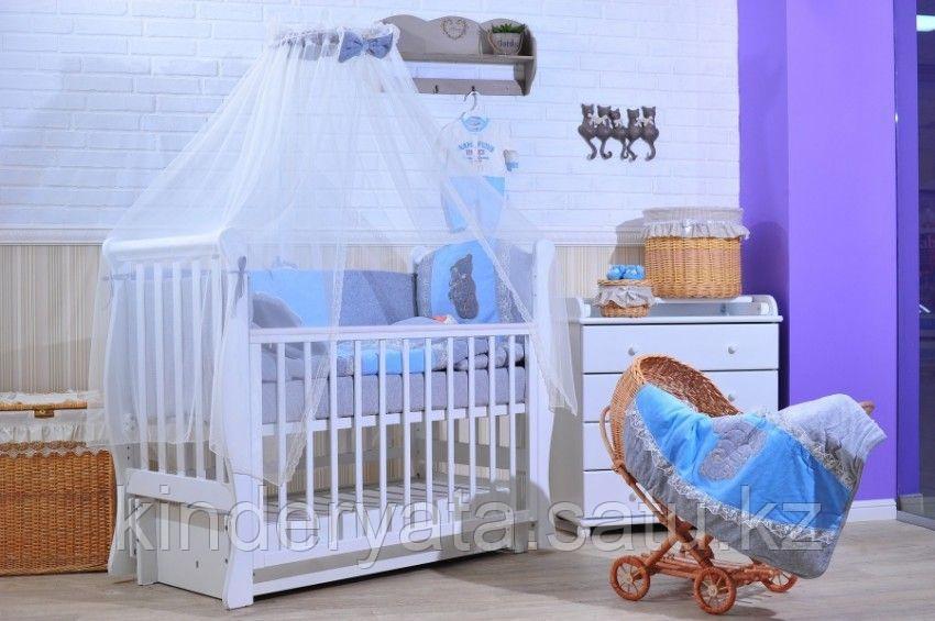 Комплект в кровать GulSara 6 предметов, Бязь Голубой