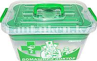 """Аптечка для лекарств 10 л """"Домашний Доктор"""" с вкладышем (контейнер для аптечки зеленый) 81003 (003)"""