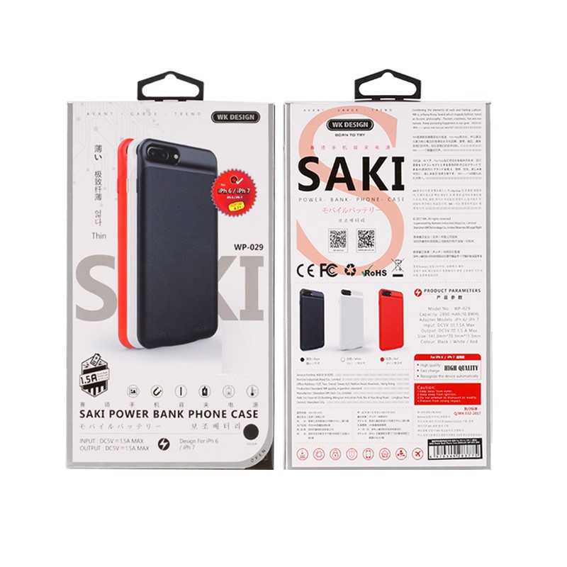 Чехол Зарядка Power Bank WK WP-029 iPhone 6, iPhone 7, iPhone 8, 2850 mAh