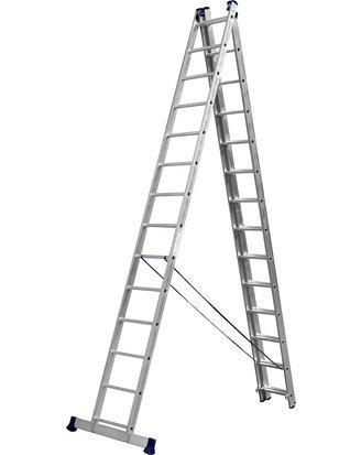 Лестница СИБИН трехсекционная со стабилизатором, 14 ступеней, 954 см