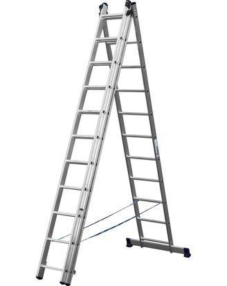 Лестница СИБИН универсальная, трехсекционная со стабилизатором, 11 ступеней, 702 см