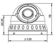 Купольная IP камера 2.0 mpx, объектив 2.8-12mm, IR 30m, Н.264/H.265, фото 3