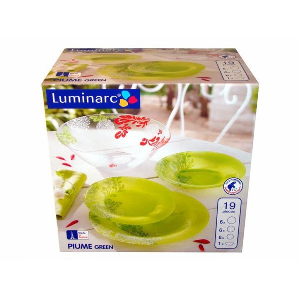 Столовый сервиз Luminarc Piume Green 19 предметов на 6 персон
