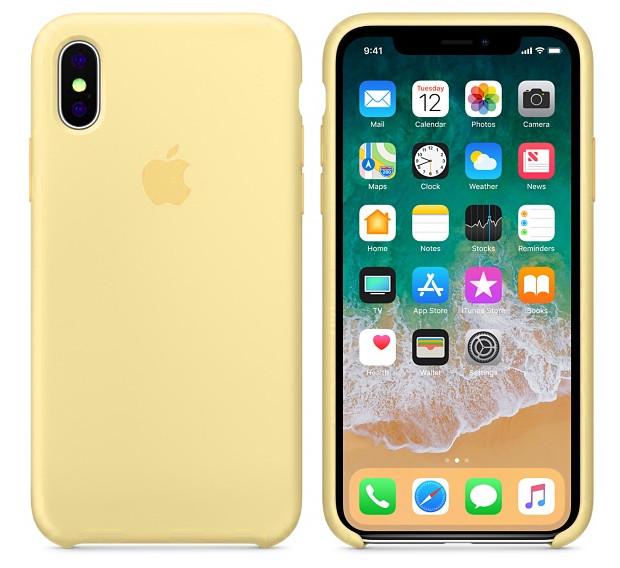 Cиликоновый чехол для iPhone X/ iPhone 10 (желтый)
