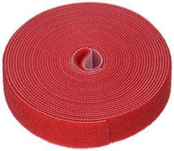Многоразовая крепежная лента липучка Hook & Loop, цвет красный (25 метров в рулоне)