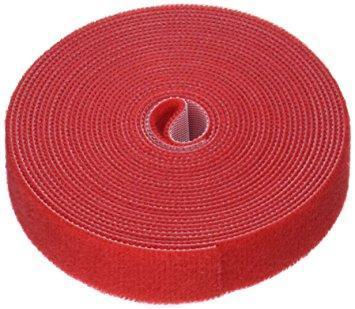 Многоразовая крепежная лента липучка Hook & Loop, цвет красный (25 метров в рулоне), фото 2