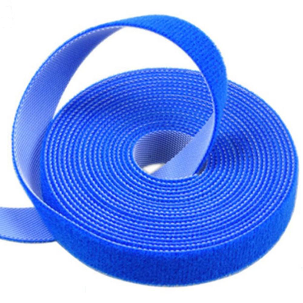Многоразовая крепежная лента липучка Hook & Loop, цвет синий (25 метров в рулоне)