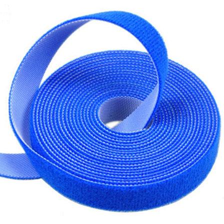 Многоразовая крепежная лента липучка Hook & Loop, цвет синий (25 метров в рулоне), фото 2