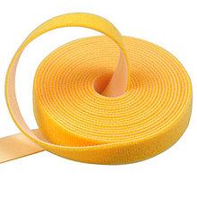 Многоразовая крепежная лента липучка Hook & Loop, цвет желтый (25 метров в рулоне)