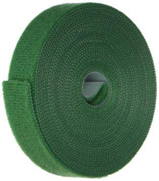 Многоразовая крепежная лента липучка Hook & Loop, цвет зеленый (25 метров в рулоне)