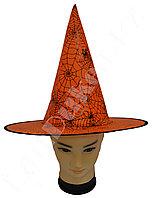 Шляпа ведьмы на Хэллоуин оранжевая