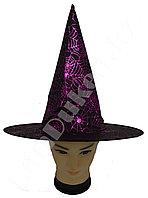 Шляпа ведьмы на Хэллоуин черная с блестящим принтом