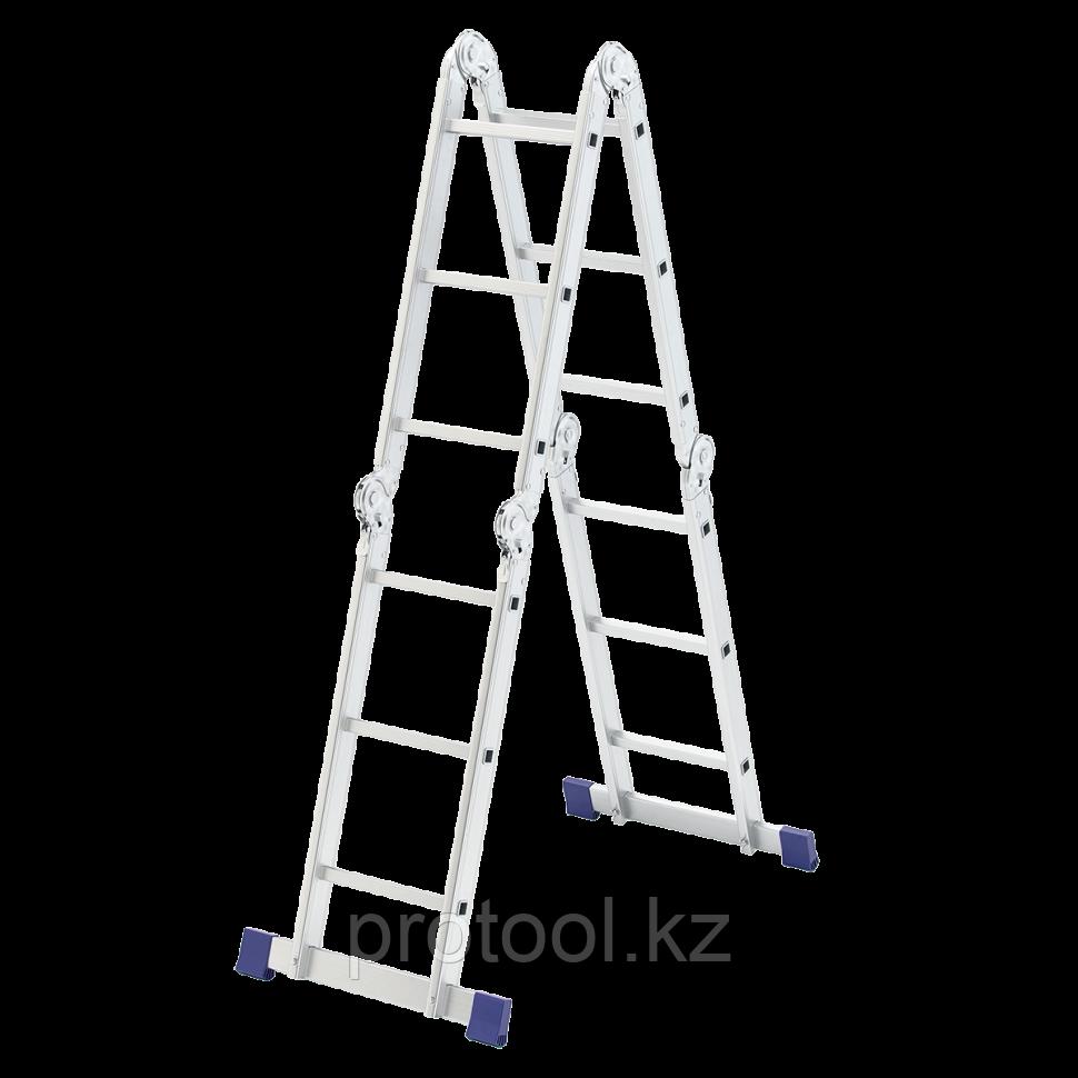 Лестница шарнирная алюминиевая, 4х3// Сибртех Россия