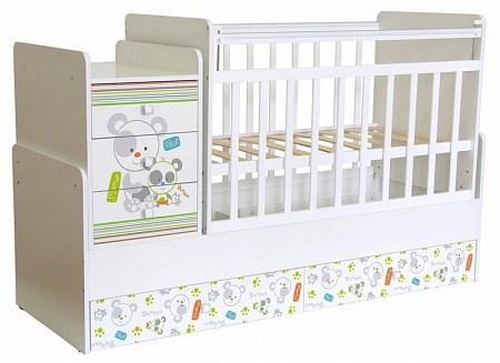Детская кровать трансформер Фея 1100 Панды (белый)