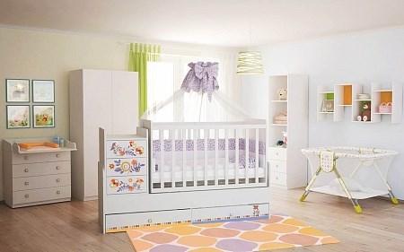 Детская кровать трансформер Фея 1100 Прогулка (белый)