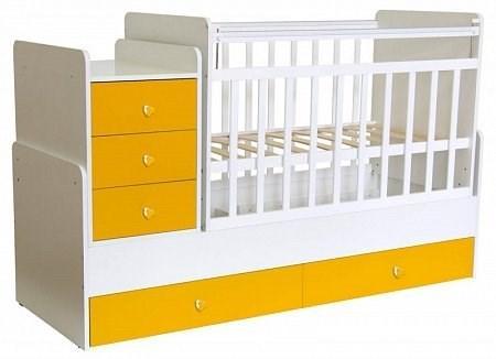 Детская кровать трансформер Фея 1100 (белый-желтый)