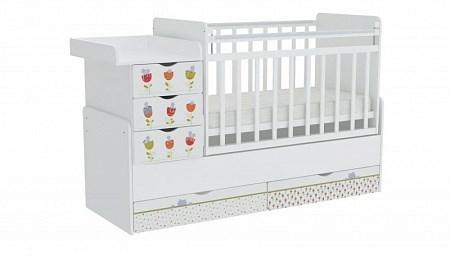 Детская кровать трансформер Фея 1150 Сонные котята (белый)