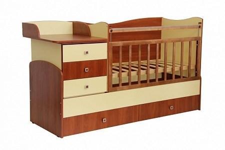 Детская кровать трансформер Фея 1400 5 в 1 (орех-лимонный)