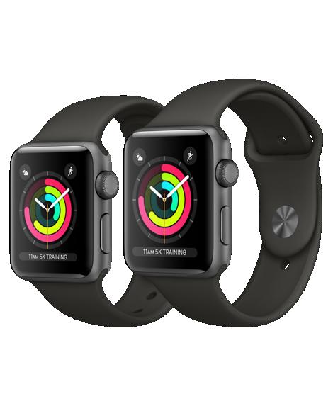 Apple Watch Series 3, 42 мм.  Корпус из алюминия цвета «серый космос», спортивный ремешок серого цвета