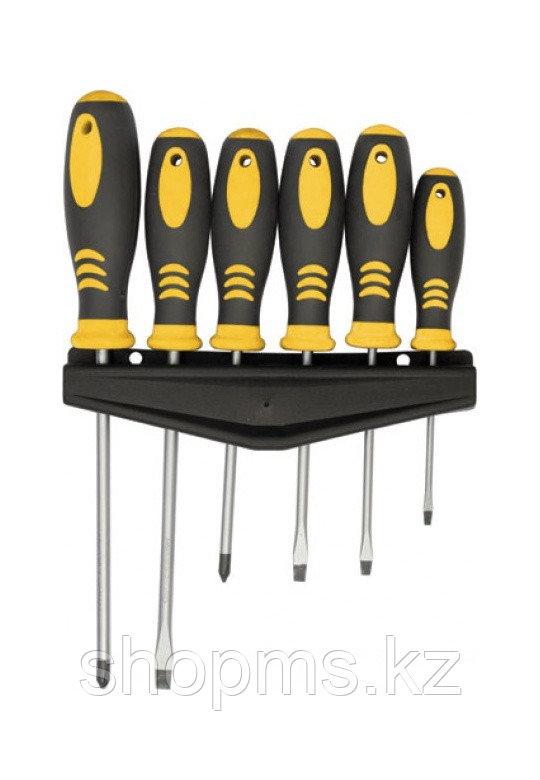 """Отвертки """"Хард"""", CrV сталь, прорезиненные ручки, магнитный наконечник, на держателе, набор 6 шт."""