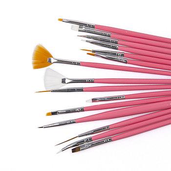 Набор кистей для дизайна и росписи ногтей,15 шт