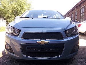 Защита радиатора Chevrolet Aveo 2012- black низ