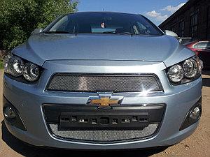 Защита радиатора Chevrolet Aveo 2012- chrome верх