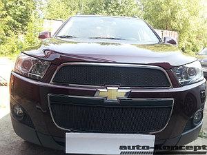 Защита радиатора Chevrolet Captiva 2011-2013 (2 части) black
