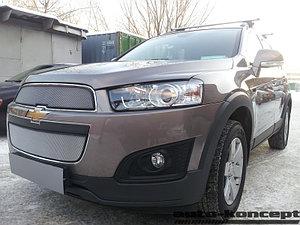 Защита радиатора Chevrolet Captiva 2013- рестайлинг (2 части) chrome