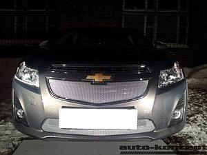 Защита радиатора Chevrolet Cruze 2013- chrome верх