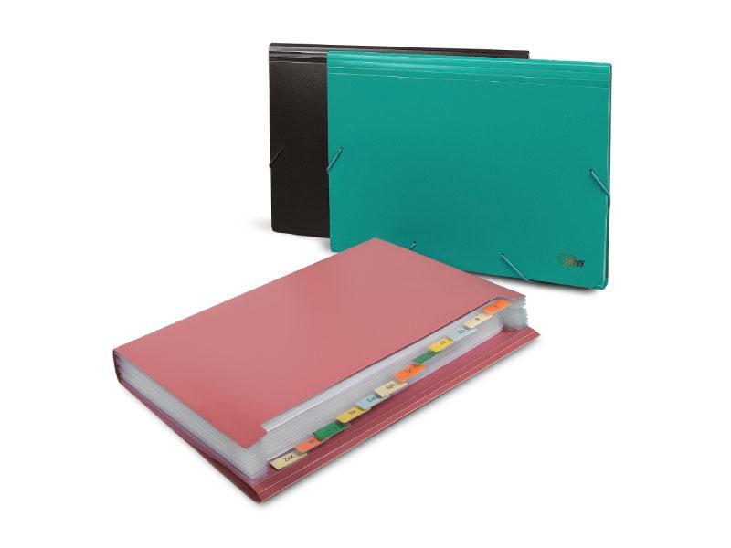 Папка картотека для бумаг на резинках А4, 12 отделений