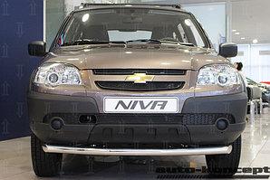Защита радиатора Chevrolet Niva I рестайлинг (L /LC/ GL/LE/LE+) 2009- (3 части) black