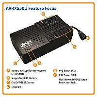 Сверхкомпактный линейно-интерактивный ИБП Tripp Lite серии AVR мощностью 550 ВА, AVRX550U